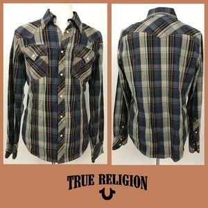 True Religion Blue Orange Plaid Pearl Snap Shirt